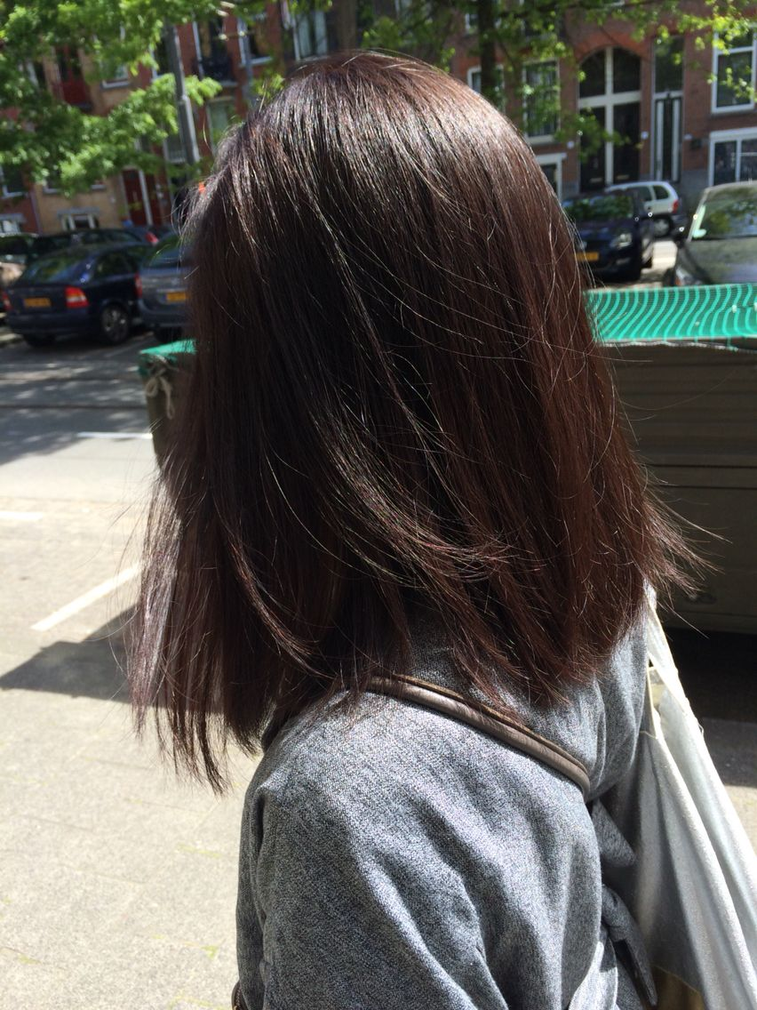 Warm Haircolor Created With Wella 4 0 5 75 And A Long Bob Brunette Hair Hair Color Cool Hair Color