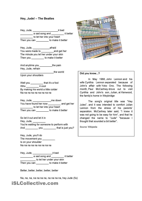 worksheet Present Simple Song Worksheet hey jude simple present pinterest worksheets worksheet free esl printable made by teachers