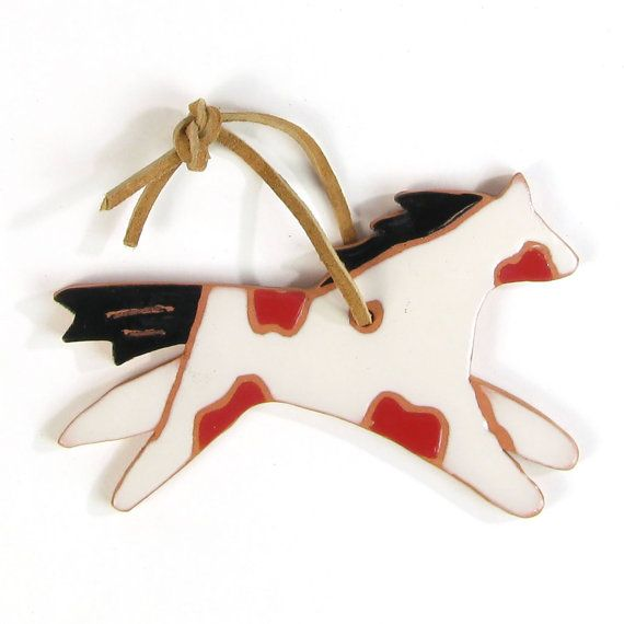 Hand Painted Terracotta Clay  Ornament  White by SunlandArtisans