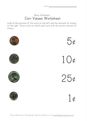 coin value worksheets identifying coins kids stuff pinterest coins and coin values. Black Bedroom Furniture Sets. Home Design Ideas
