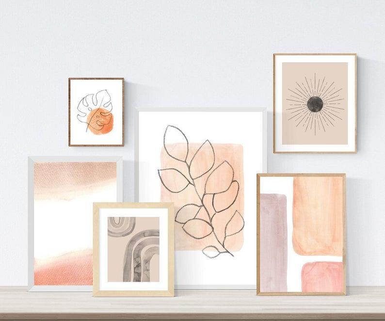 Gallery wall set of 6 Neutral Printable wall art Mid century | Etsy -   diy Tumblr art