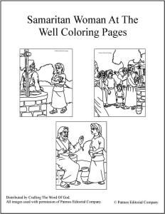Samaritan Woman At The Well Coloring Pages Sunday School