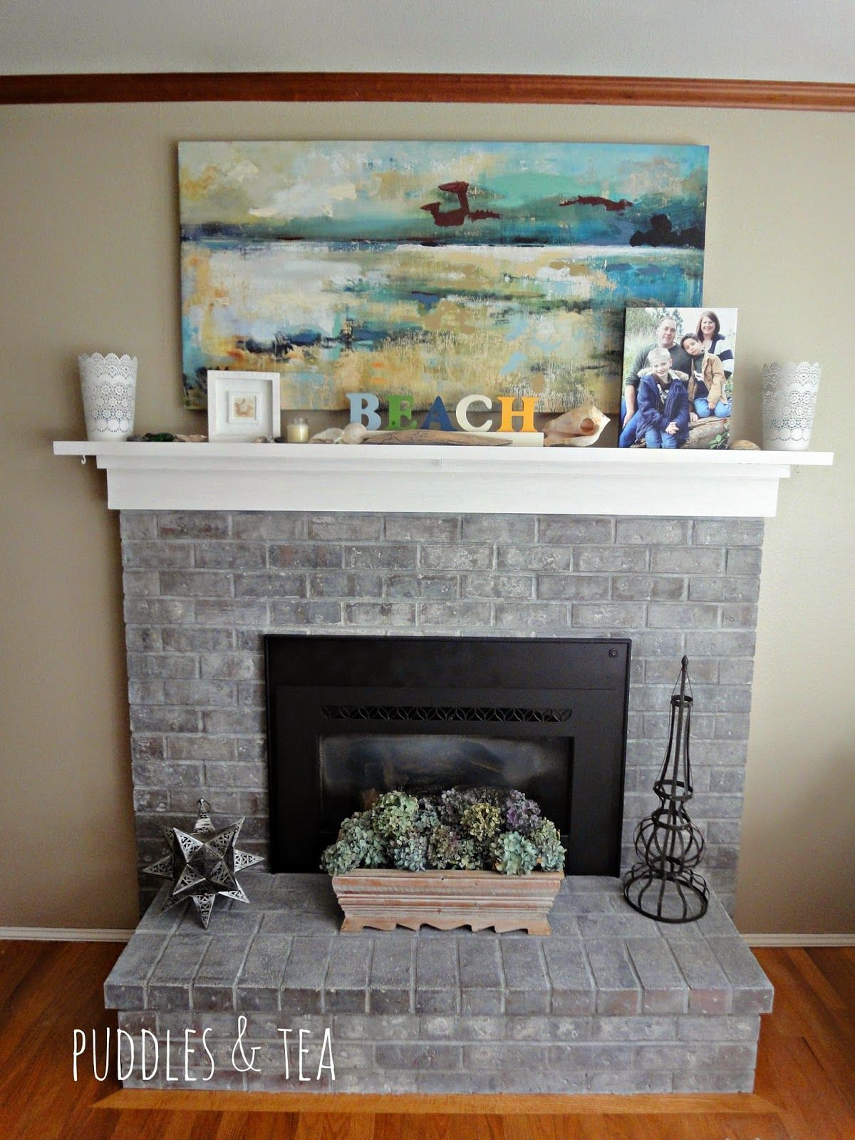 puddles tea white wash brick fireplace makeover beach cottage