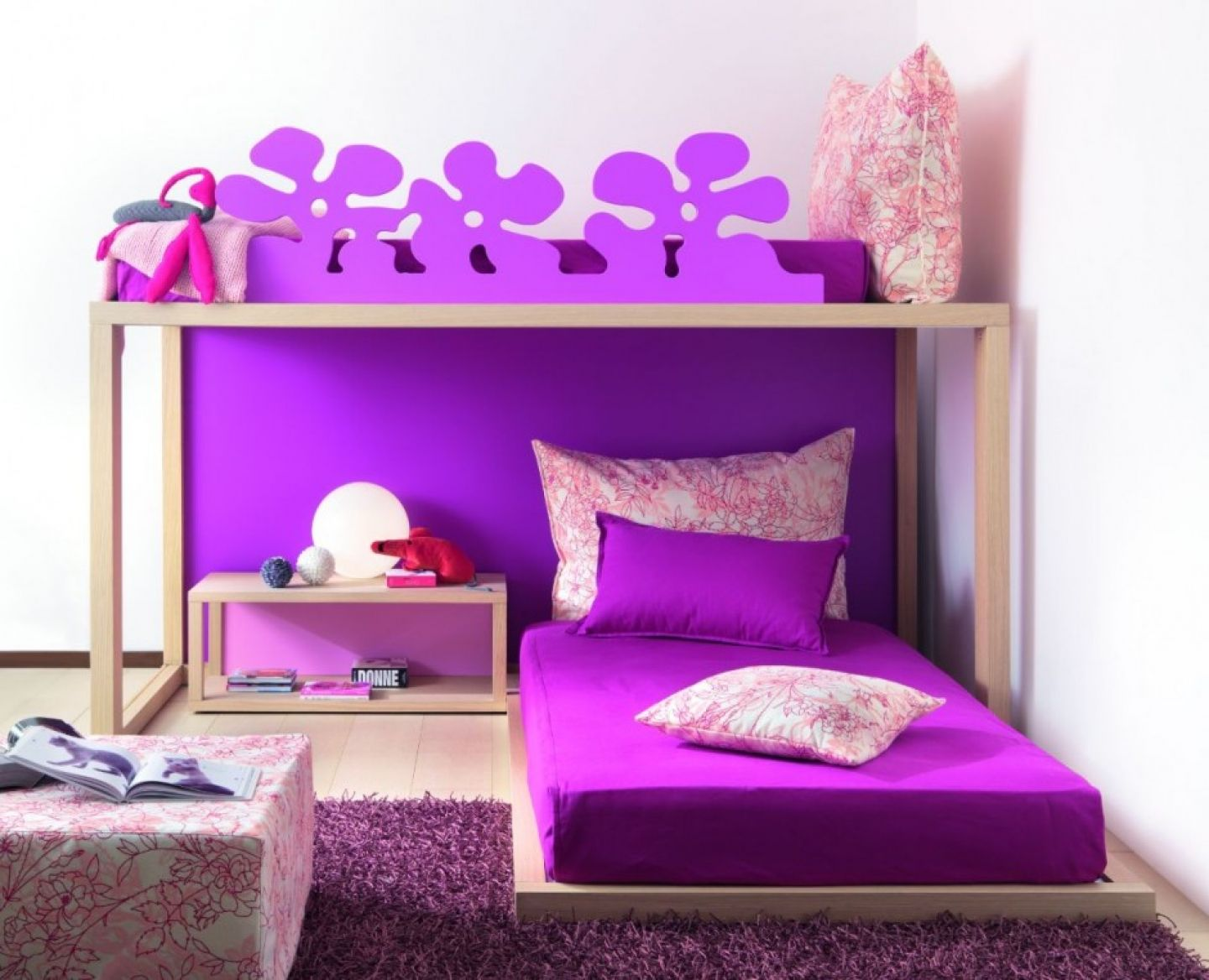 Bedrooms for girls purple and white - Teal Colored Beds For Little Kids Beds With Purple Rug And Wooden