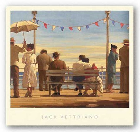 """Amazon.com: The Pier by Jack Vettriano 26.5""""x21.5"""" Art Print Poster Vintage: Home & Kitchen"""