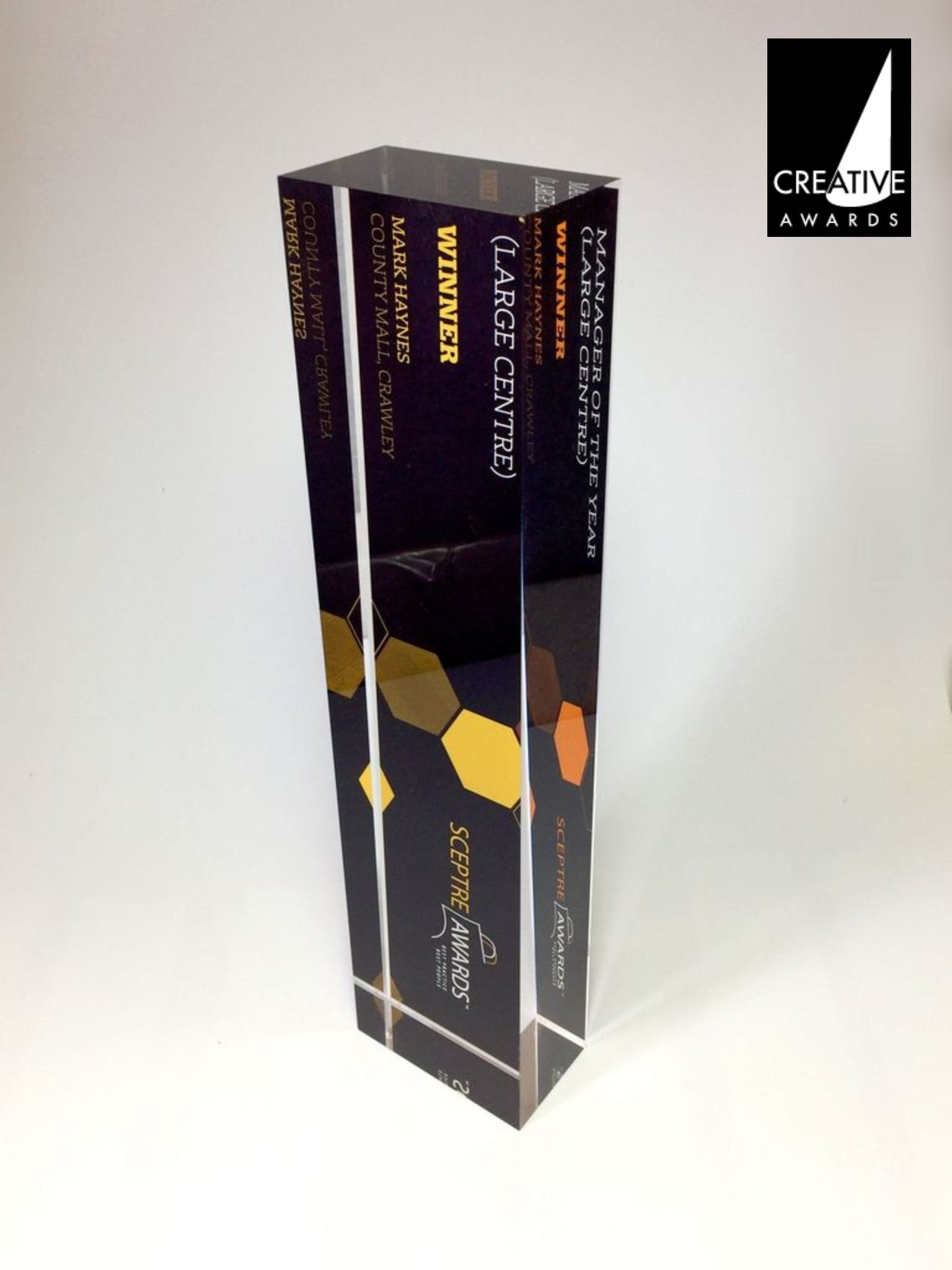 Whether horizontal or vertical, the Rear Printed Acrylic Block Award looks impressive. The impressive award is made from a thick custom cut block of optically clear #acrylic and features custom made hi-res rear printed #graphics. ____ #designideas #customdesign #bespokedesign #events #eventplanners #CreativeAwards #London #HattonGarden #AcrylicPerspex #Perspex #Acryliccasting #workshoplife #workshop #awardideas #designagency #creativeagency #customcasting #CNC