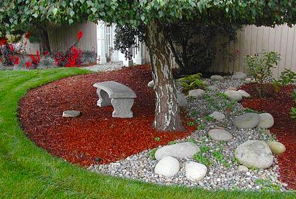 Pictures Of Backyard Landscaping Ideas Tree Sitting Area Stone Rocks Pebbles Red Mulch