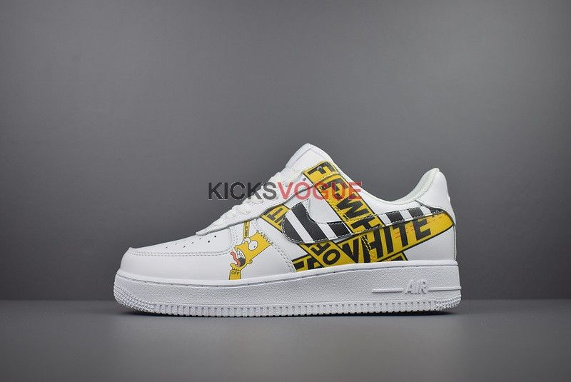 new arrival 70b29 799f2 Custom Bart Simpson Off-White Nike Air Force 1 low White