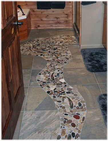 Design Concept Idea For A Rustic Cabin Bathroom Stone Tile