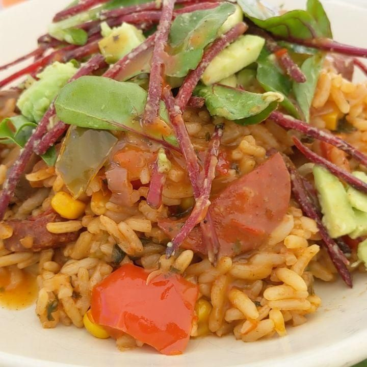 Mexican rice with chorizo & Turkish sausage with salad ....  - newforkcity -