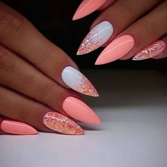 The Most Beautiful Almond Type Nail Art Kornelia Nowak Unghie Arancioni Unghie Salmone Unghie Fucsia