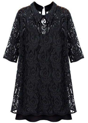 Black Lapel Half Sleeve Embroidery Lace Dress US$22.10