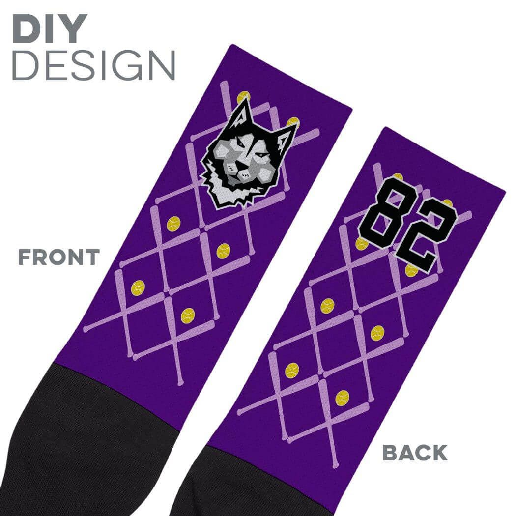 Softball Mid-Calf Socks - Personalized Team Name And Number