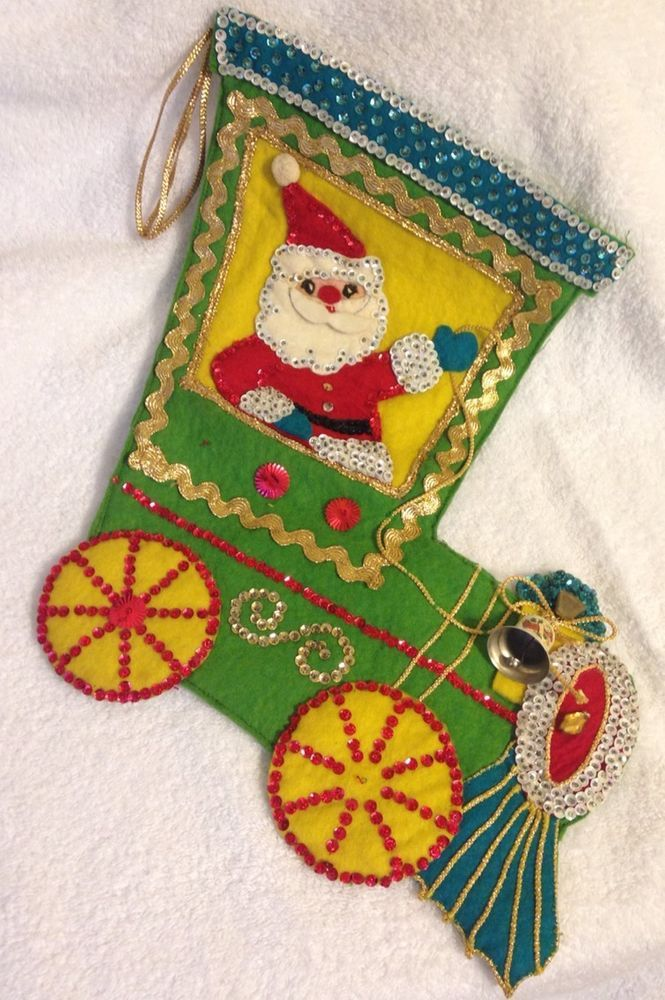 Vintage Hand Sewn Felt Sequin & Cord Christmas Stocking Santa in a Train