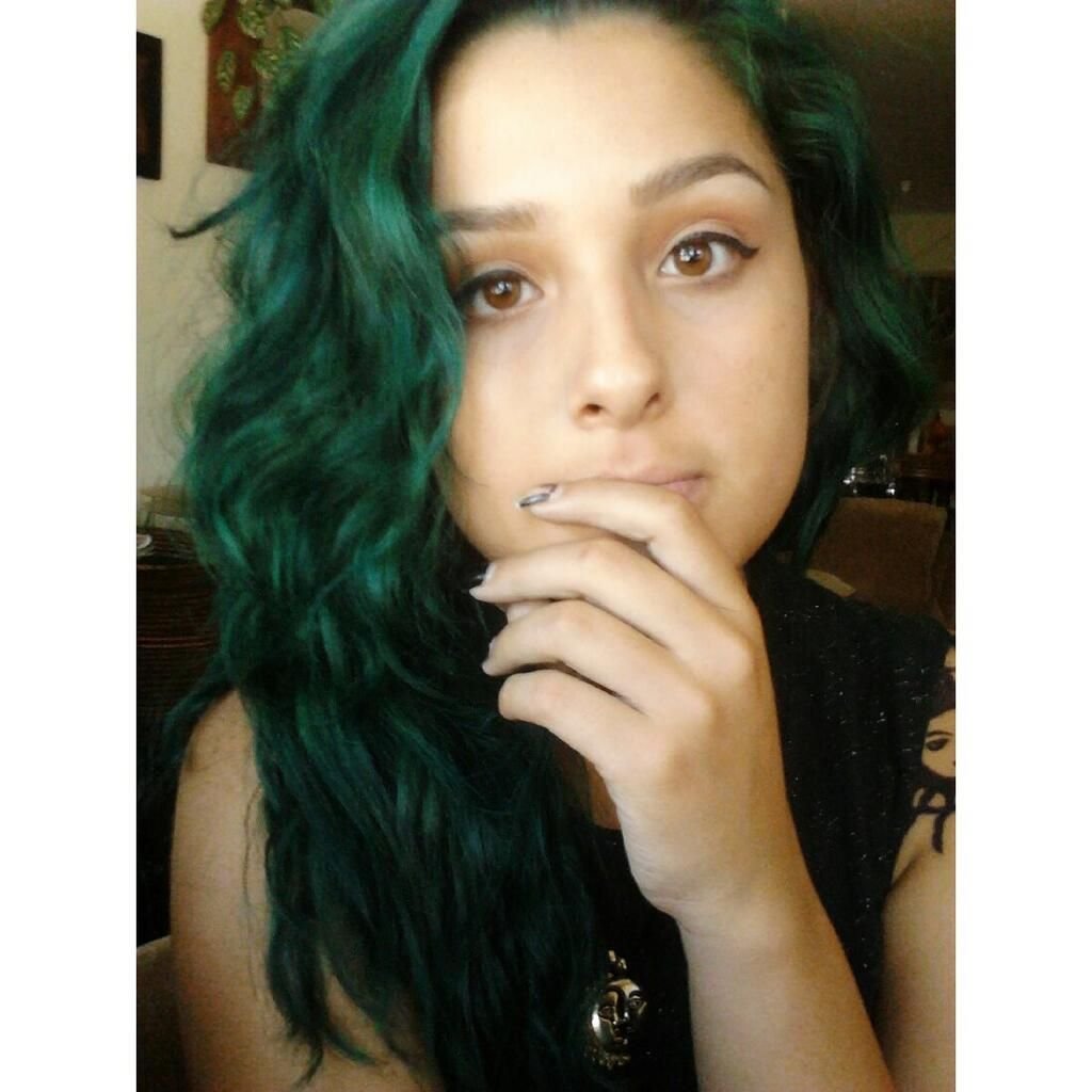 My Hair Was Dark Brown Beforehand I Got This Green By Mixing Midnight Blue