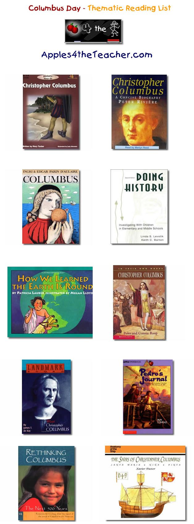 Suggested Thematic Reading List For Columbus Day Columbus Day Books For Kids Children S Literature Best Children Books Columbus Day