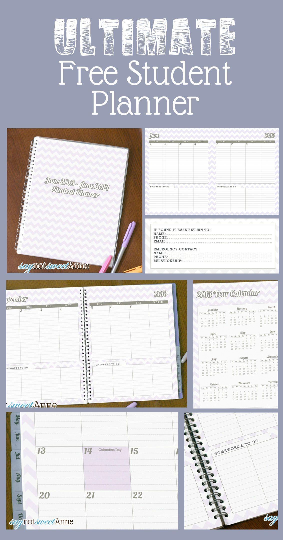 picture regarding Printable Student Planner Download referred to as 2018 June towards June University student Planners â–» CRAFT Community