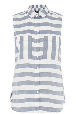 This sleeveless shirt is constructed from a woven fabric and features a peak collar, button through front, contrast breast pockets and all-over stripe print. Height of model shown: 5ft 10 inches/178cm. Model wears: UK size 10.Fabric:Main: 100.0% Cotton.Wash care:Machine WashProduct code: 02288434 Price: £25.00