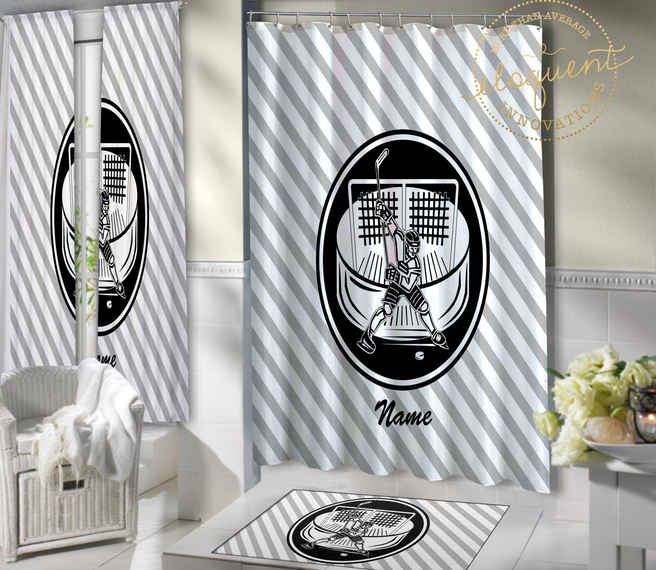 Hockey Shower Curtain Fabric Sports Themed Bathroom