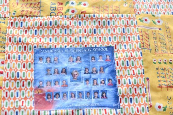Class Photos through the years displayed on a quilt for Teacher