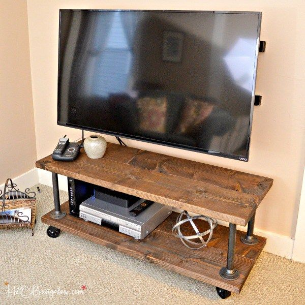 Diy Industrial Style Media Stand With Wheels H2obungalow Industrial Tv Stand Diy Tv Stand Tv Stand On Wheels