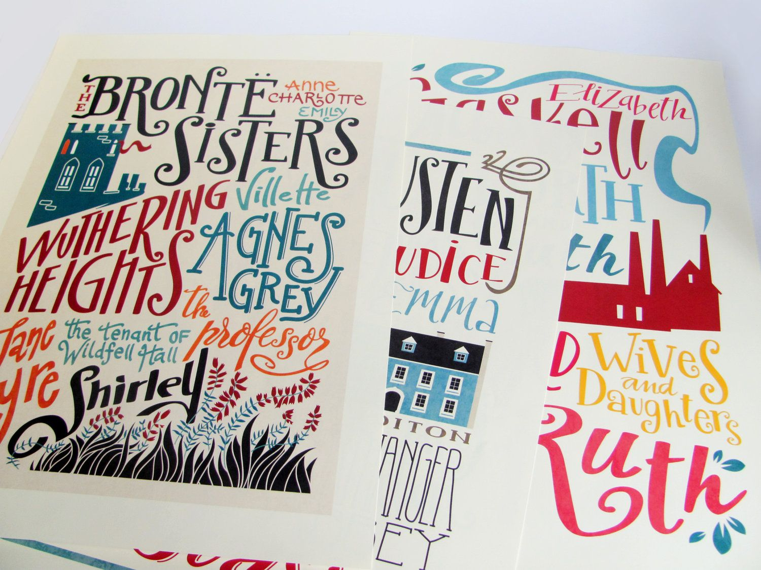 Gaskell, Bronte and Austen  Set of 3 bibliography prints -    (12,60 x 18,10 cm). €28,00, via Etsy.