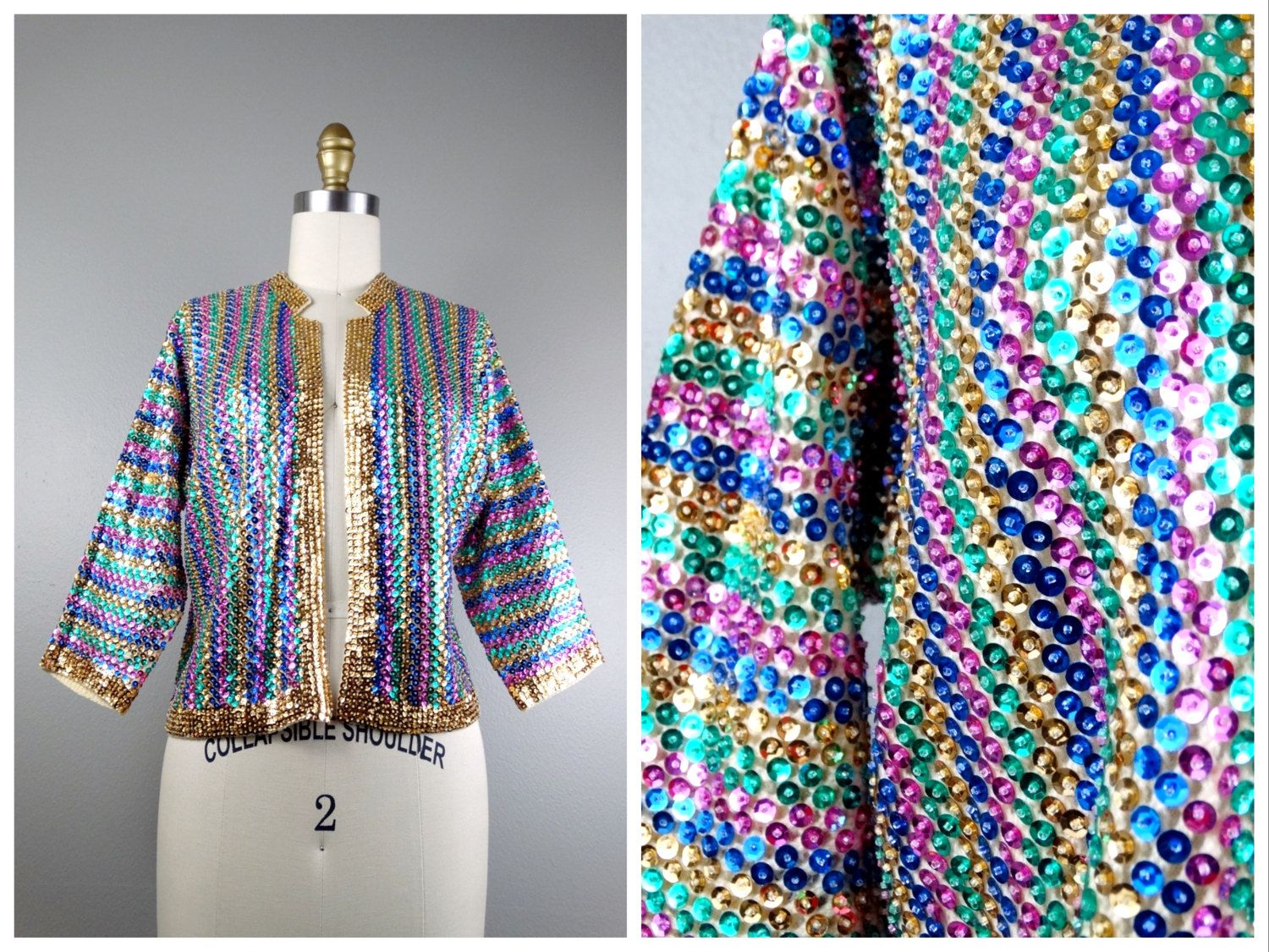 60s Rainbow Sequined Cardigan Sweater // Bright Light Sequin ...