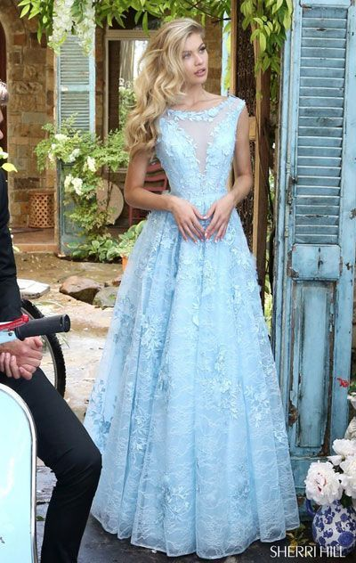 0e9c2f9af45c 2017 Sherri Hill 51099 Beaded Embellishments Light Blue Lace Applique Cap  Sleeves Pleated Long Tulle Prom Dresses