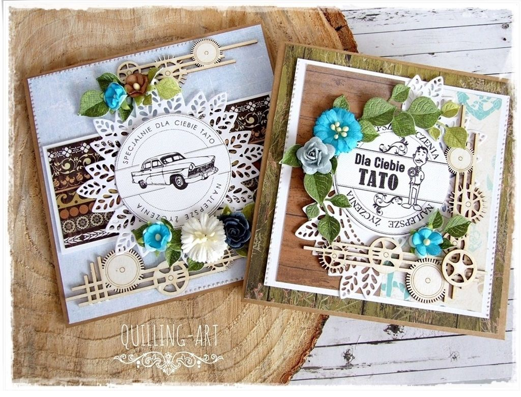 Kartki Na Dzien Taty Quilling Art With Images Kartki