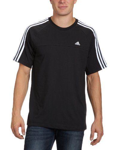 adidas Herren T-Shirt Essentials Crew, Black White, L,