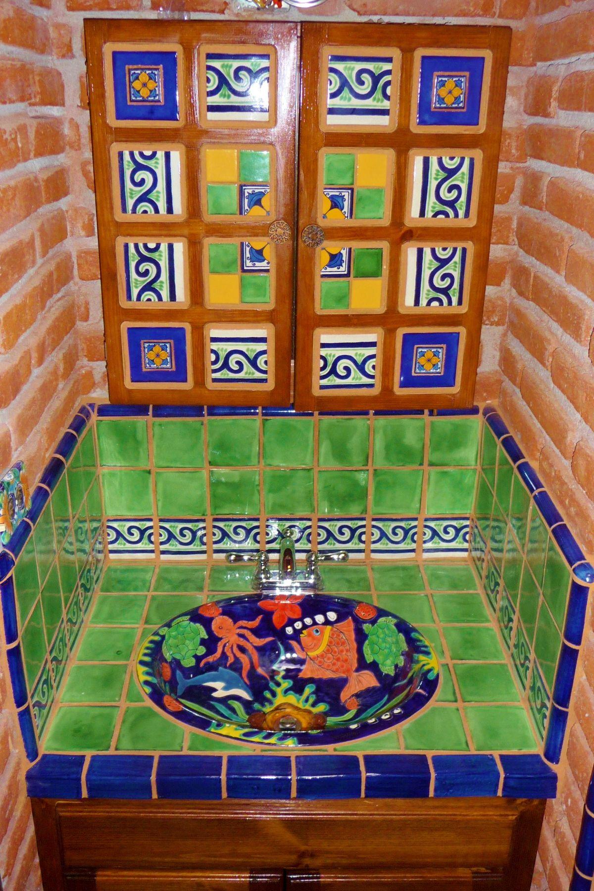 Bathroom Vanity Using Mexican Tiles.
