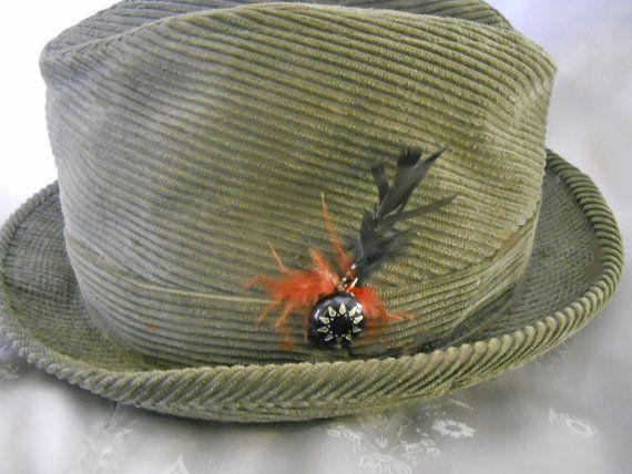 9e04d182bc6b4 60s Hat Men s Corduroy Fedora Harvard Sport by LunaJunction