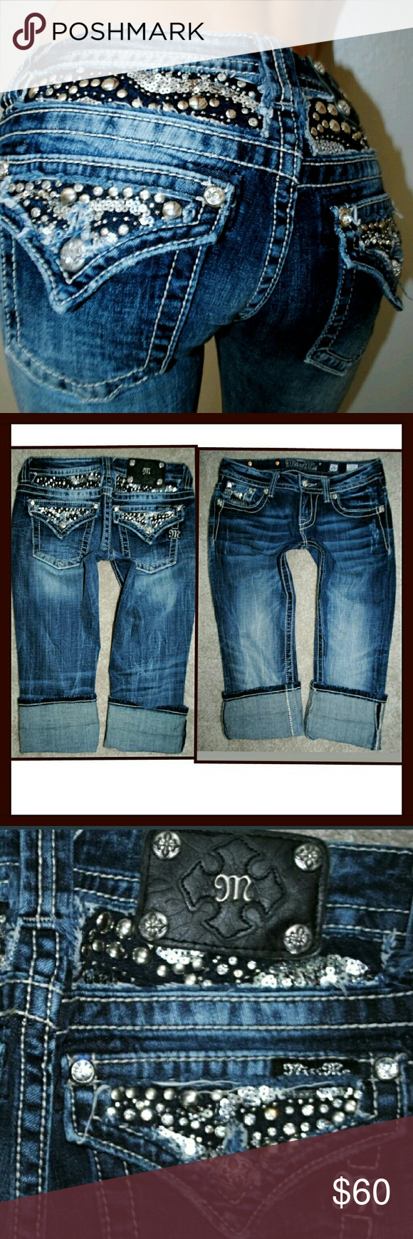MISS ME CUFFED CAPRI RHINESTONE JEANS 2 26 No flaws. See  pics for serials and measurements. Miss Me Jeans Ankle & Cropped