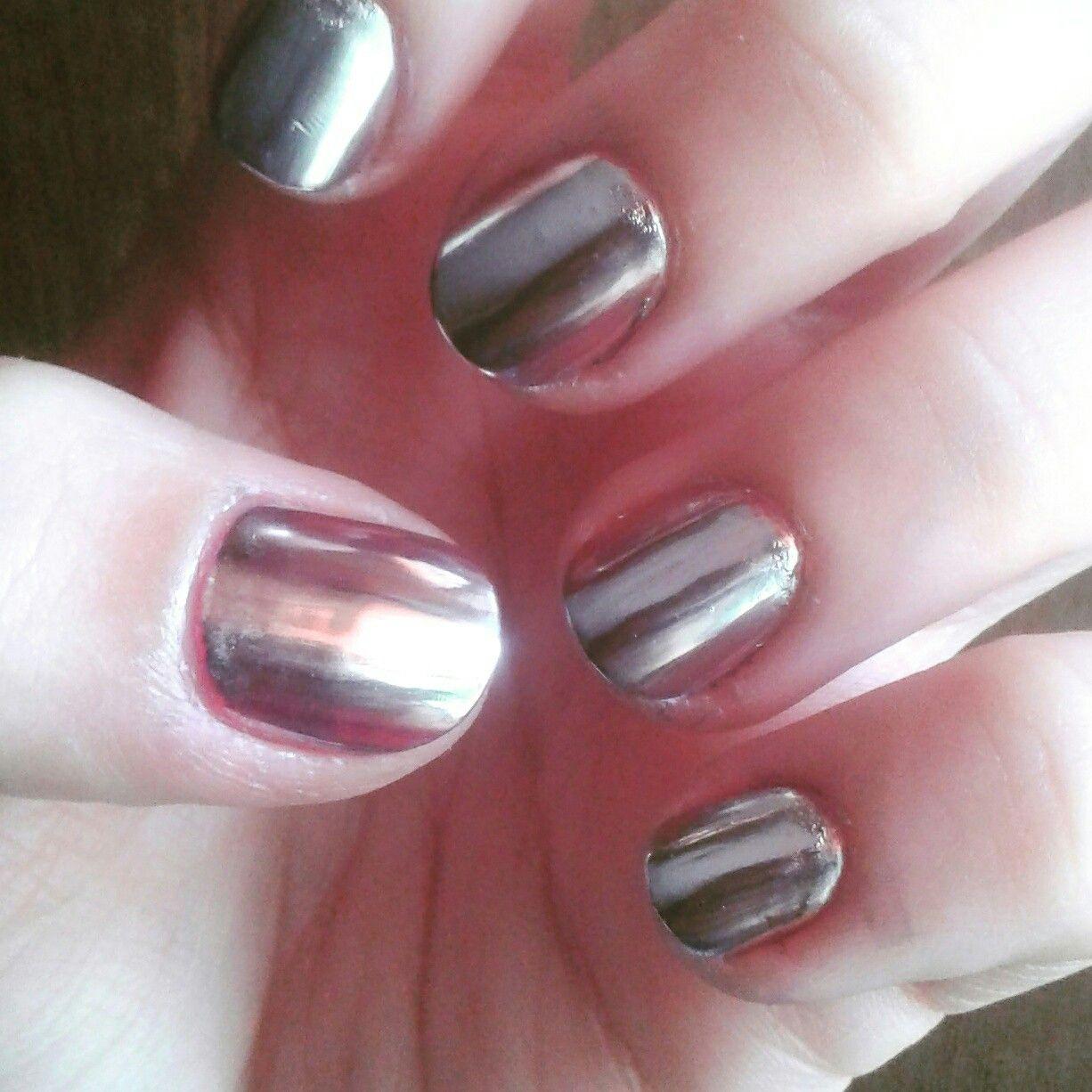 Efecto espejo con esmalte regular/ mirror effect with regular nail ...