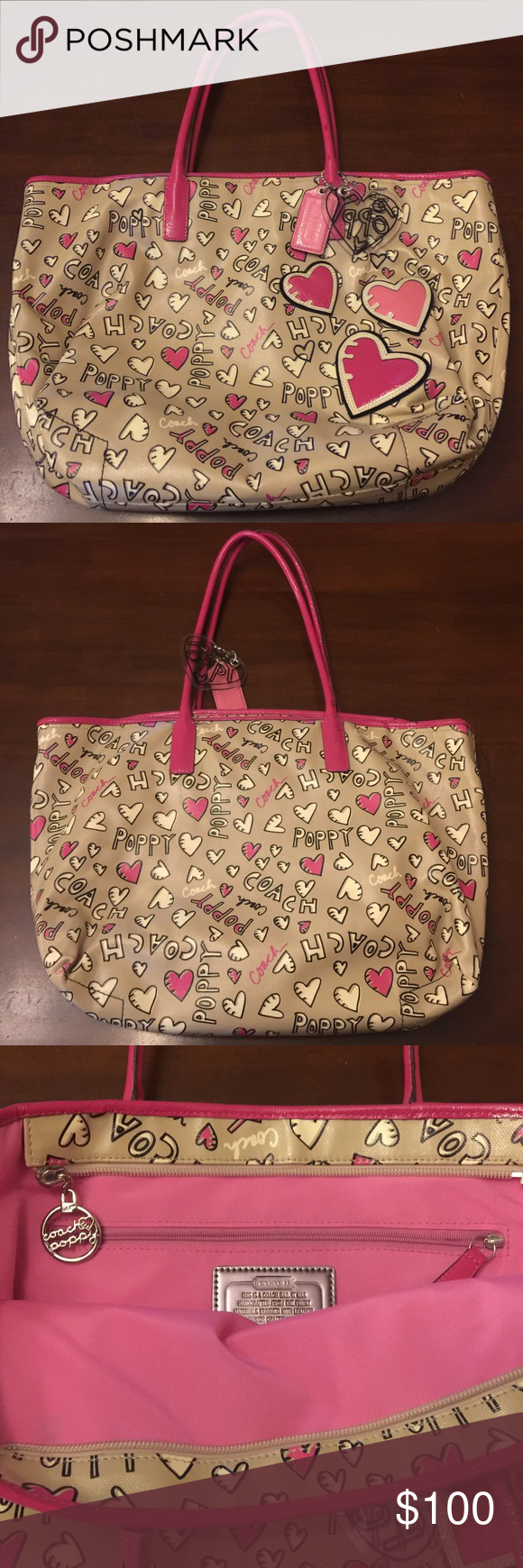 """COACH-Poppy Graffiti Heart Tote NWOT - Never used  Tote bag / Coated Canvas-Patent Leather  Multi-colored  Bag Length: 12"""" Bag Height: 9"""" Bag Depth: 5"""" Strap Drop: 8"""" Coach Bags Totes"""