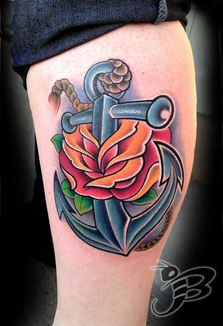 ab9ee3f3ea3eb Tattoos - Full color Anchor and Rose tattoo | Tattoos | Anchor ...