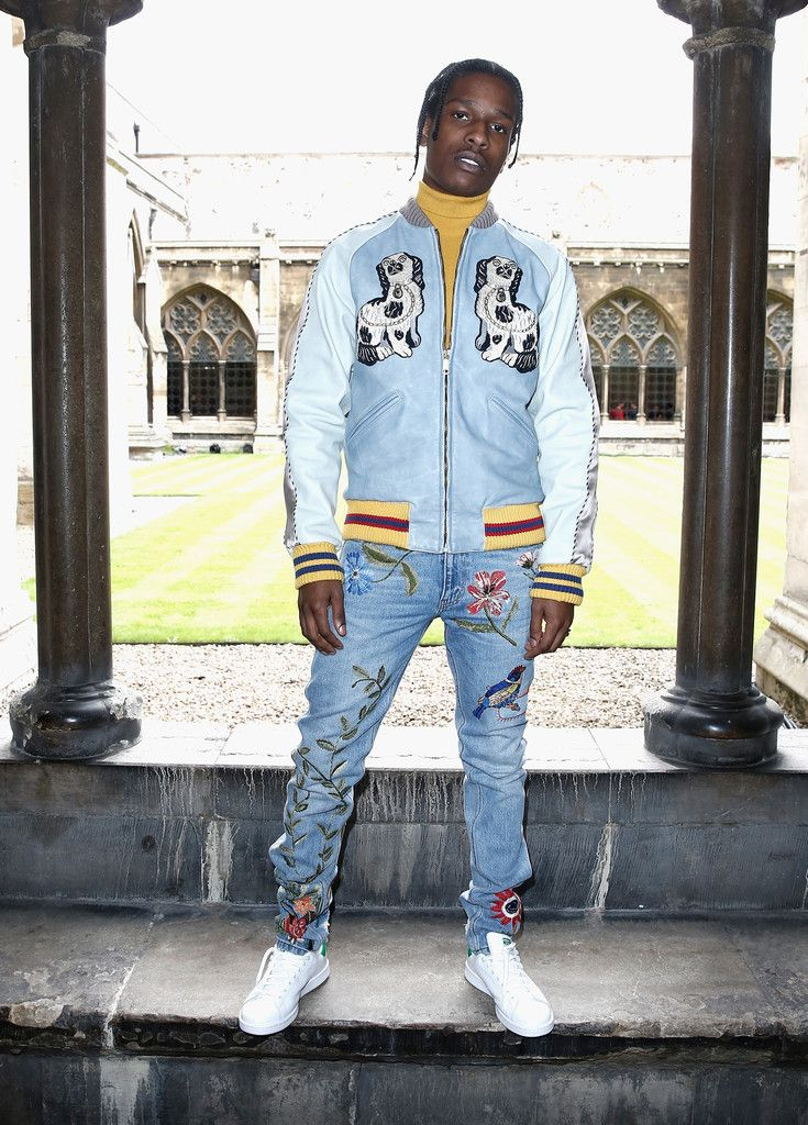 ASAP Rocky Wearing Gucci Bomber Jacket, Embroidered Jeans And Adidas  Sneakers