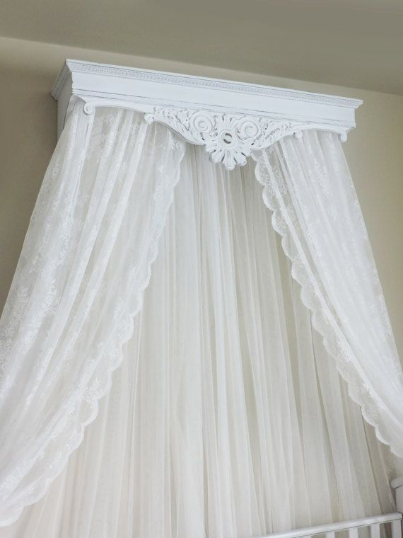 Bed Crown Canopy Crib Crown Wood Cornice French Scroll Bedroom
