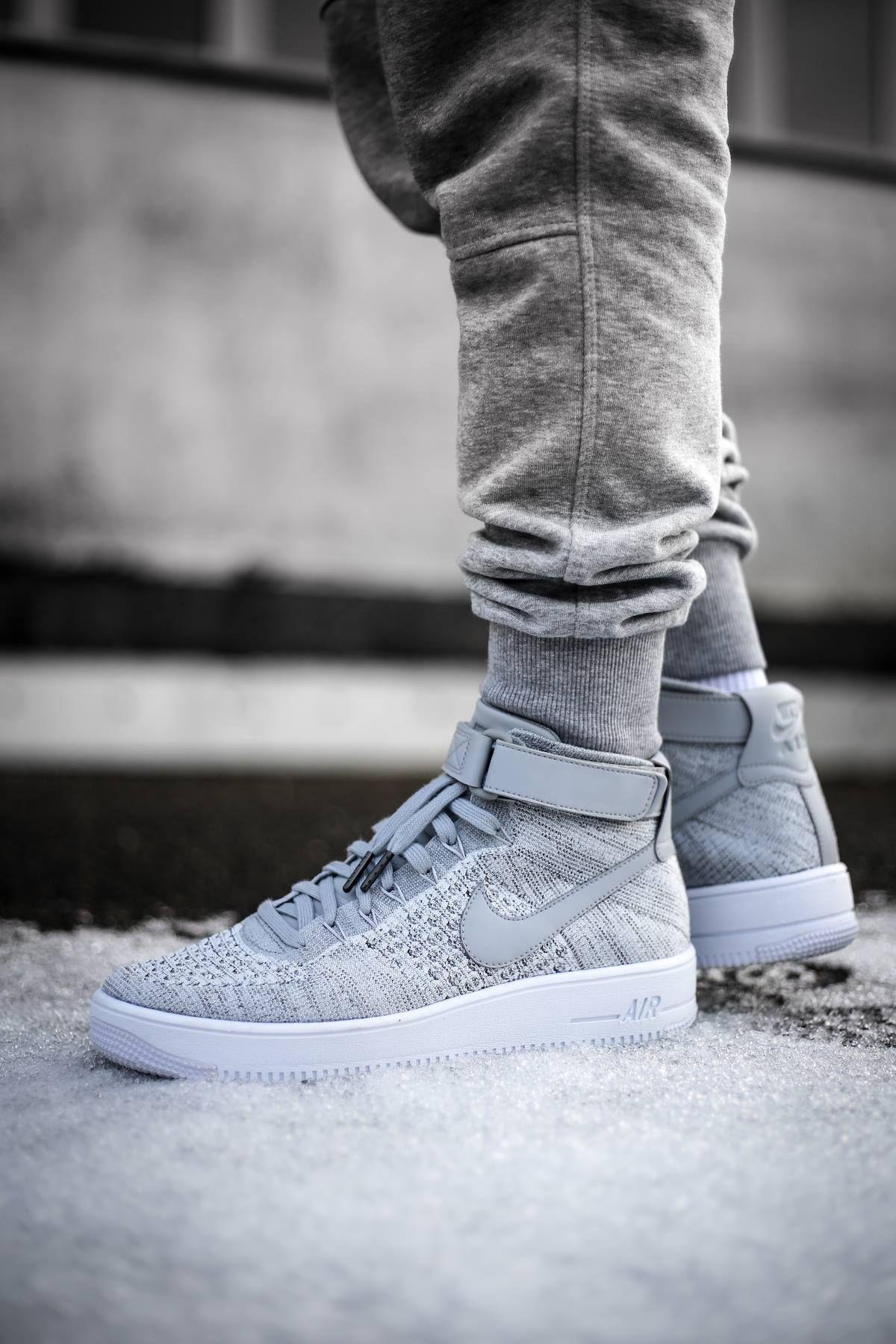 Nike Air Force 1 Mid Flyknit 'Grey' (via Kicks