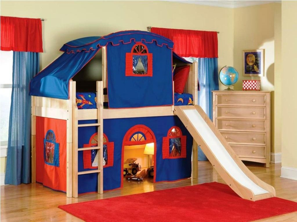 Loft bed with slide and tent   Kid Bunk Beds with Stairs  Interior Design for Bedrooms Check
