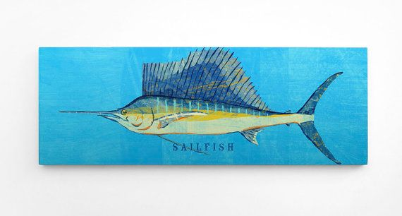 Sailfish Art Block- Husband Gift- Saltwater Fish Art- for Beach House Art- Unique Gift Ideas- Fish Gifts for Him- Gifts- for Dad Giftsfor