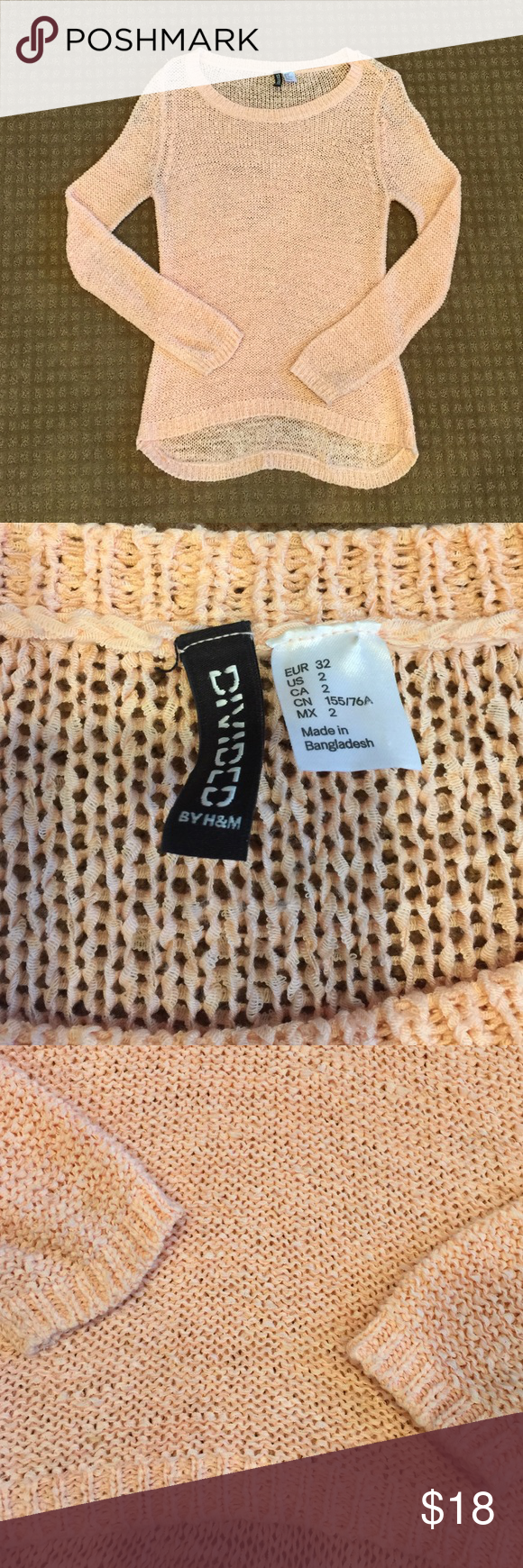 H&M Knit Sweater Super cute light pink Knit Sweater from H&M. Size ...