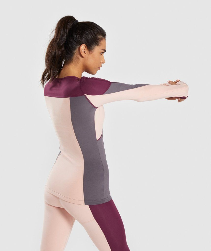 0d835ac9423d4 Gymshark Illusion Long Sleeve Top - Dark Ruby Blush Nude Slate Lavender 2