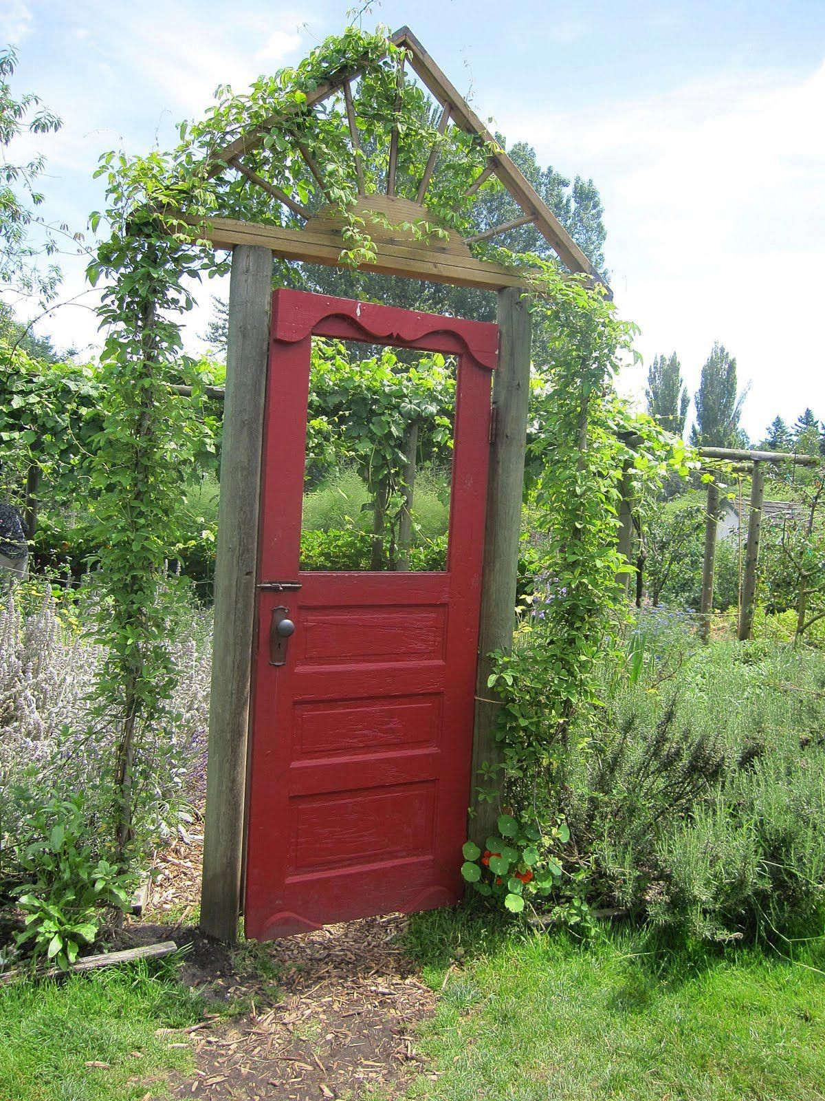 Love the idea of a door as a garden gate gardengate garden
