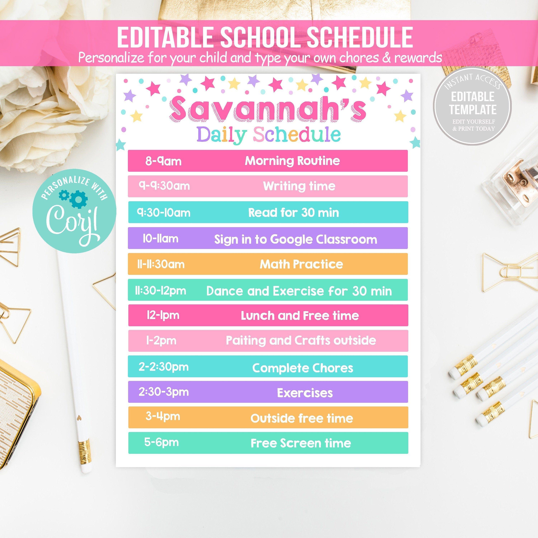 Editable Girl Home School Schedule Daily Routine Homework Etsy In 2021 School Schedule Homeschool Schedule Reward Chart