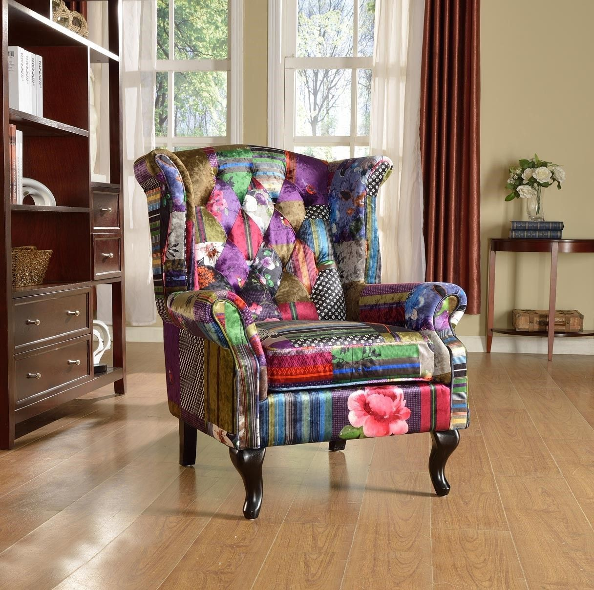 Brand New Anna Scroll Chesterfield Wing Back Luxury Patchwork Fabric Chair