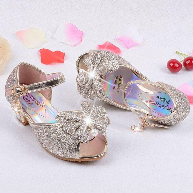 Nowe Letnie Sandaly Ksiezniczki Dzieciece Buty Drewniaki Muly Buty Dla Dzieci Dziewczyny Buty Slubne Wysoki High Heel Dress High Heel Dress Shoes Wedding Shoes