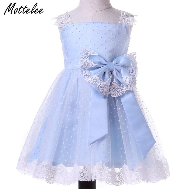 ade0c167a9494 Mottelee Toddler Girls Dress Elegant Baby Lace Party Dresses Blue ...