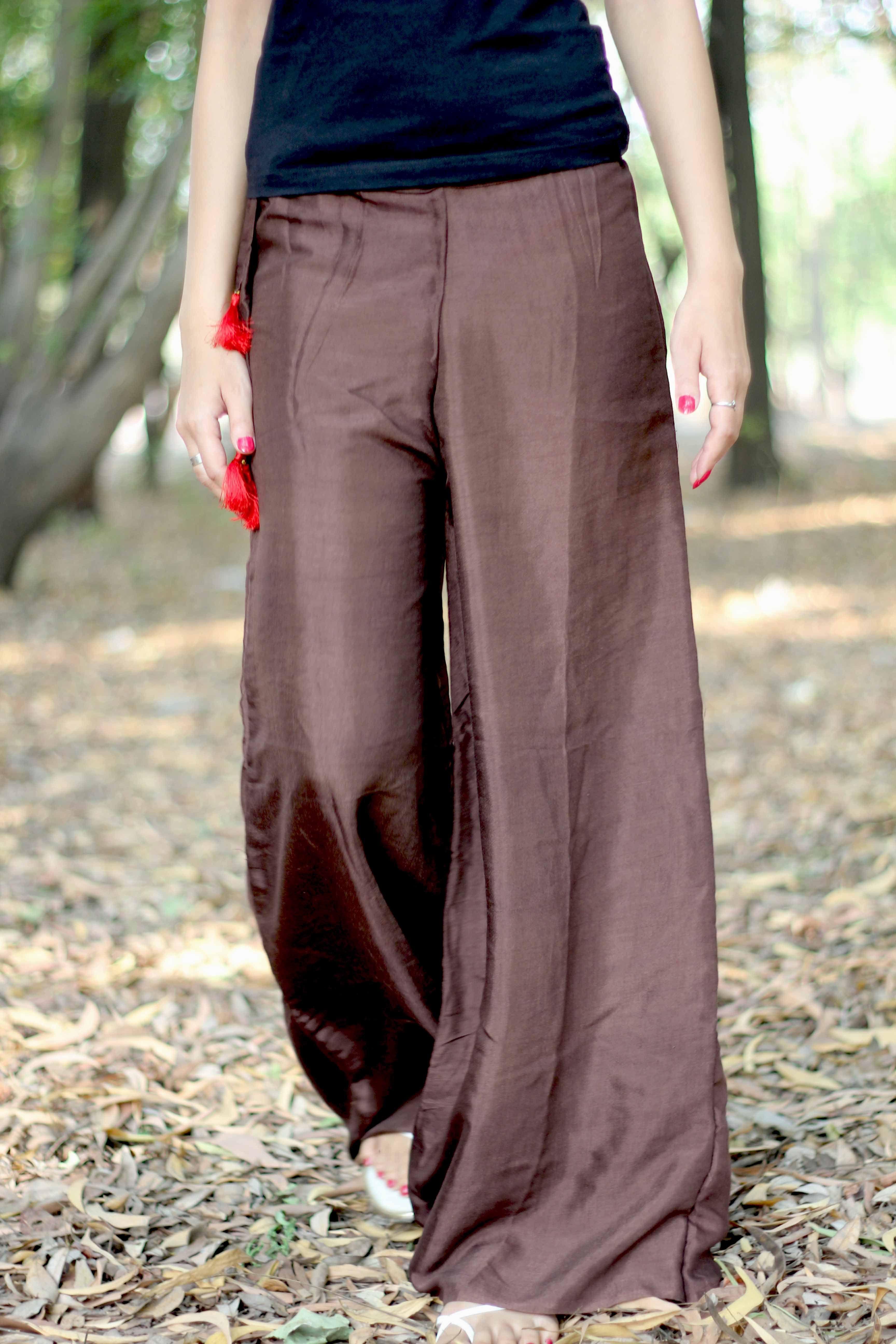 58473582b0 Brown SILK Pants Wide Leg Trousers Women Harem Pants by aaberi, $27.00