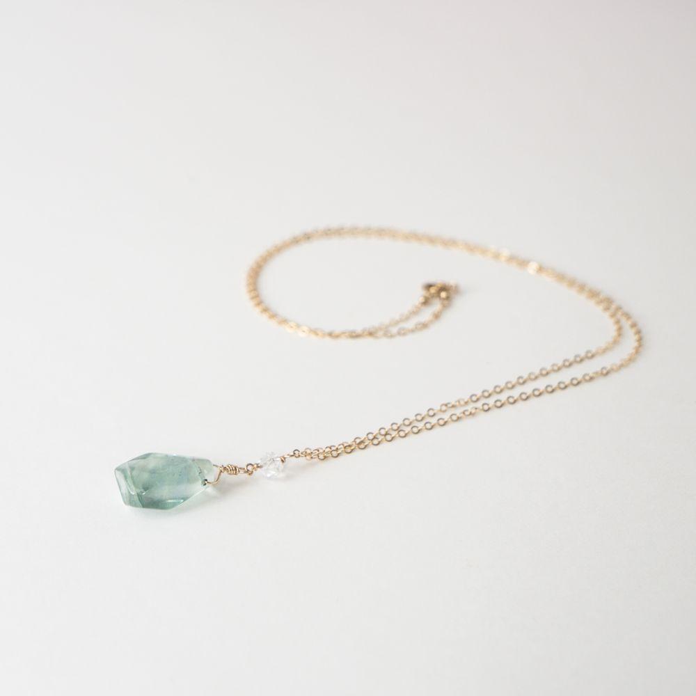 Herkimer diamond and rainbow fluorite pendant necklace herkimer herkimer diamond and rainbow fluorite pendant necklace aloadofball Images